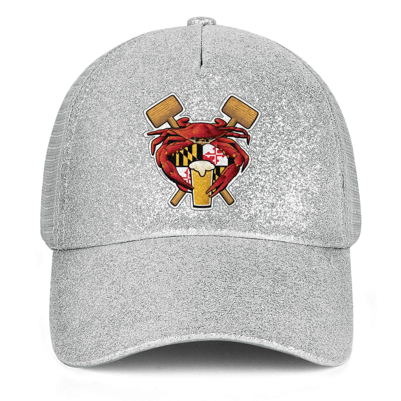 Red Maryland CrabWomensMeshTruckerPonytail Messy Cap Adjustable SnapbackSun Hat