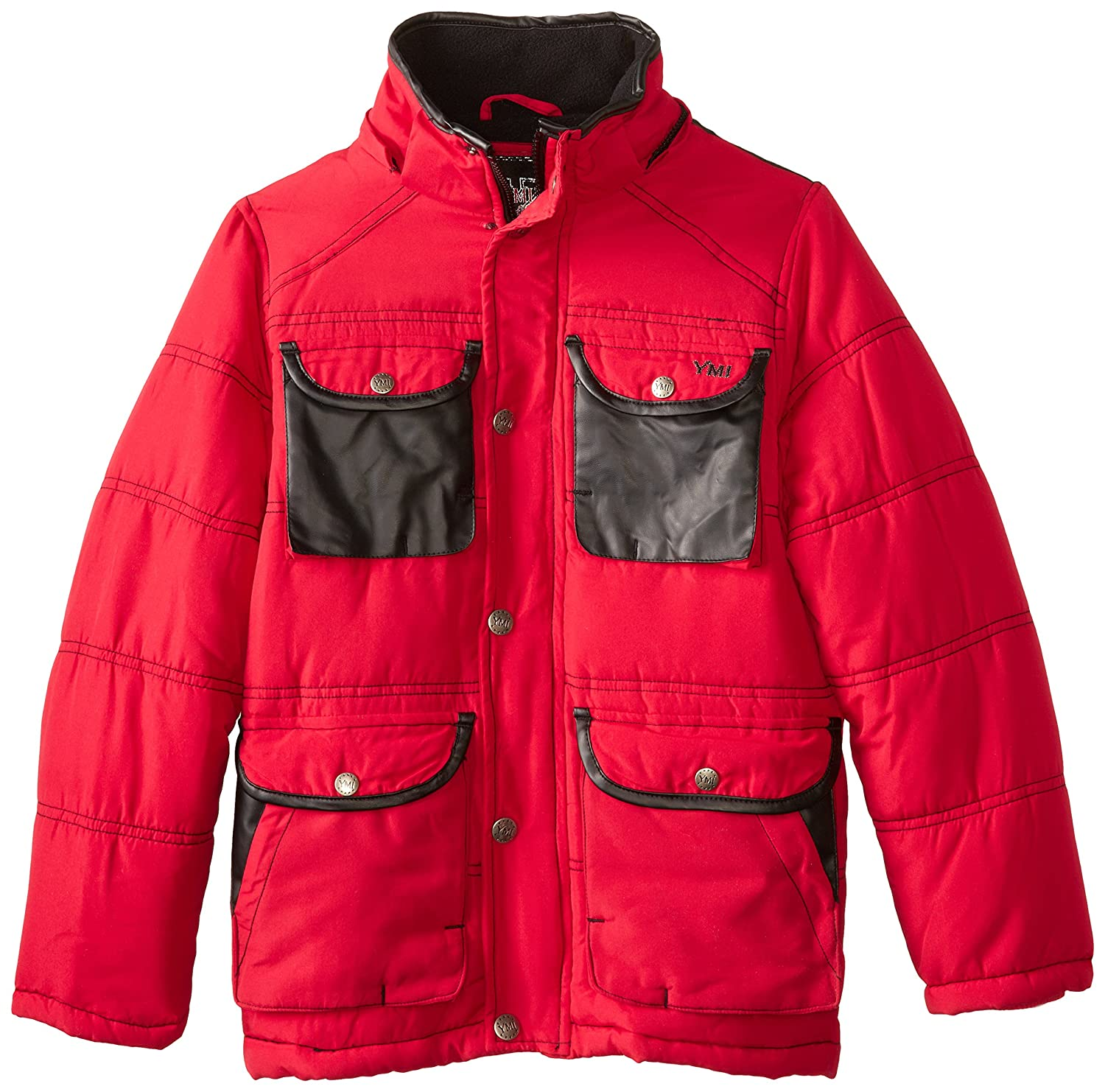 YMI Boys 8-20 Boys Hooded Jacket Bubble with Contrasting Pocket Red 18//20