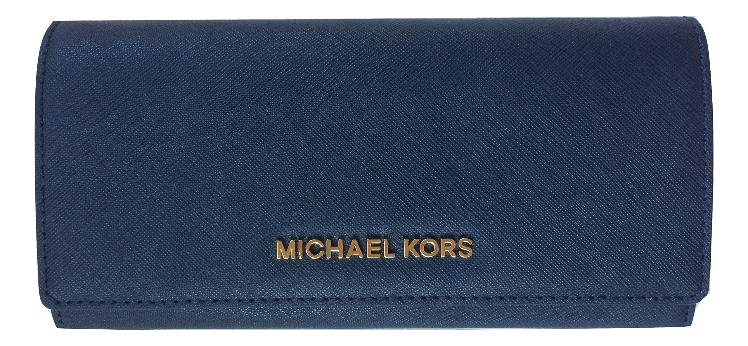 Michael Kors Jet Set Saffiano Leather Carryall Wallet (Navy)