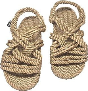 Men/'s Size 9 Black Women/'s Size 10 Narrow Rope  Sandals Black