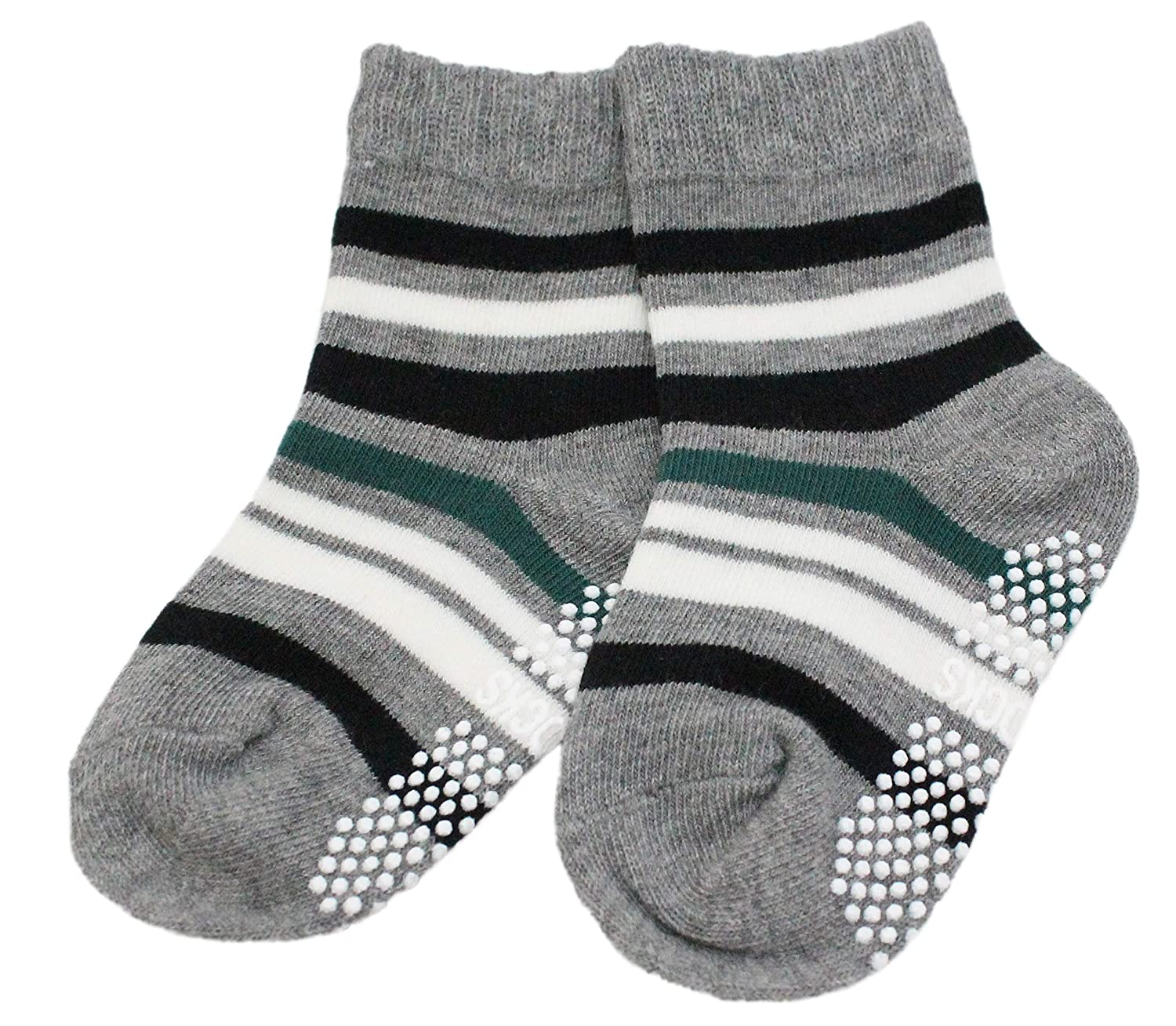 Boys Kids 3 Pairs Cotton Rich Non-slip Colourful Striped Ankle Calf Socks Ankle Socks Non-slip Age 1 to 3
