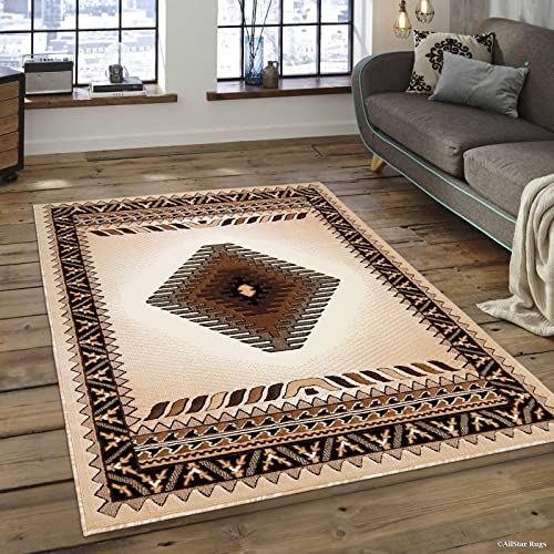 Allstar 8×10 Ivory and Beige Classic Navajo Machine Carved Effect Rectangular Accent Rug with Mocha and Espresso Southwestern Geometric Bordered Medallion Design 7 9 x 10 1