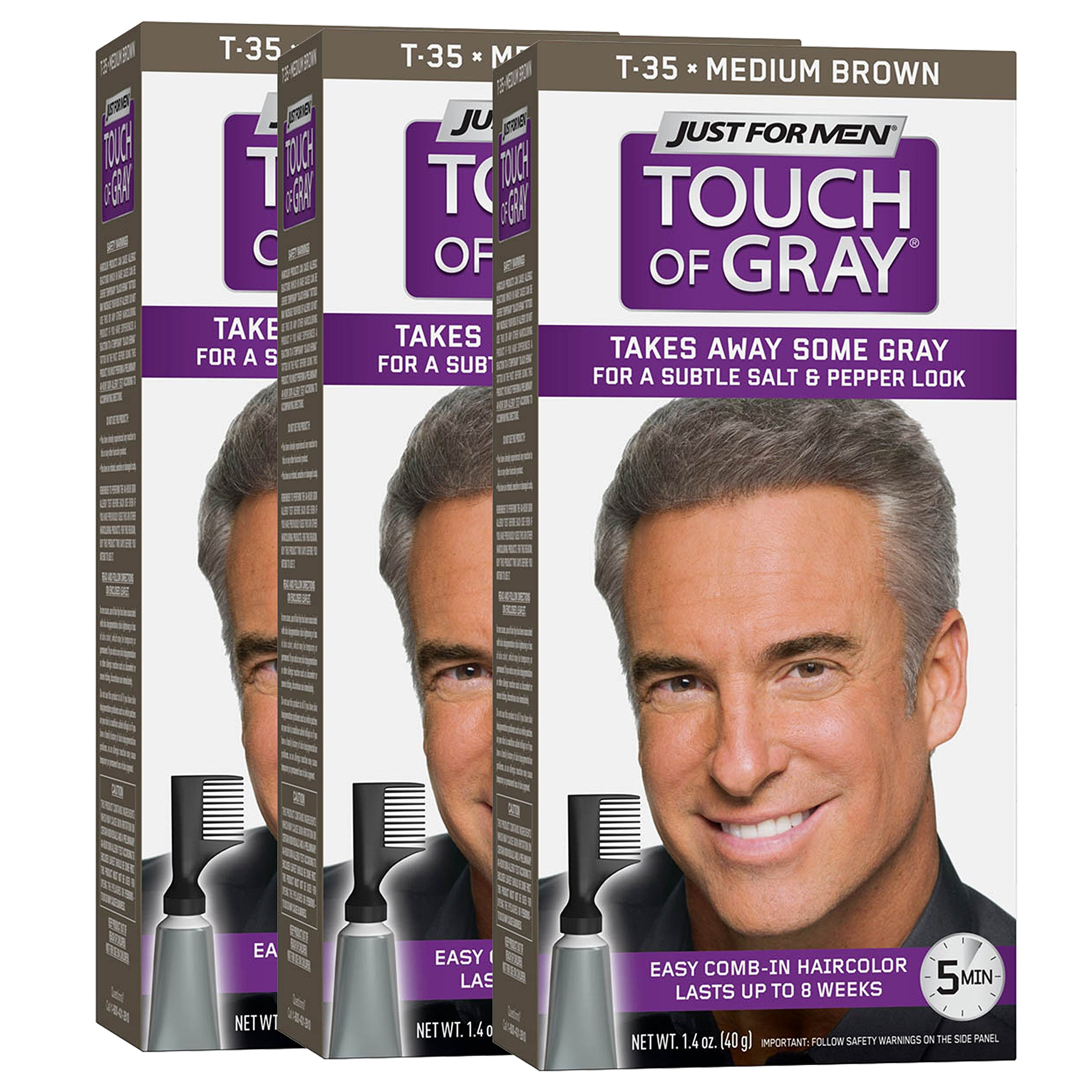 Just For Men Touch Of Gray Comb-In Men's Hair Color, Medium Brown (Pack of 3) by Just for Men