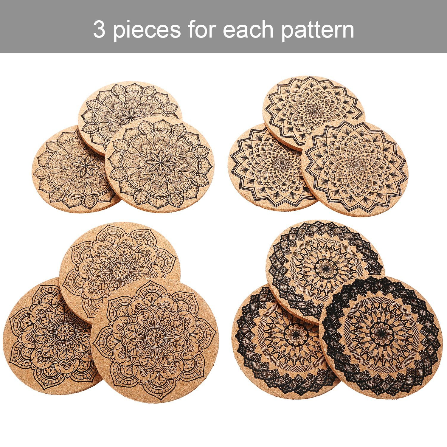Tatuo 12 Pieces Cork Coasters for Drinks Absorbent Reusable Cup Mat Drink Coaster for Home Restaurant Office and Bar, 4 Inches by Tatuo (Image #5)