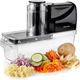 Andrew James Electric Mandoline Fruit and Vegetable Slicer with 3 Blackes, Ice Shaver, Grater and French Fry Attachments, Safe, Simple Use, Dishwasher Safe