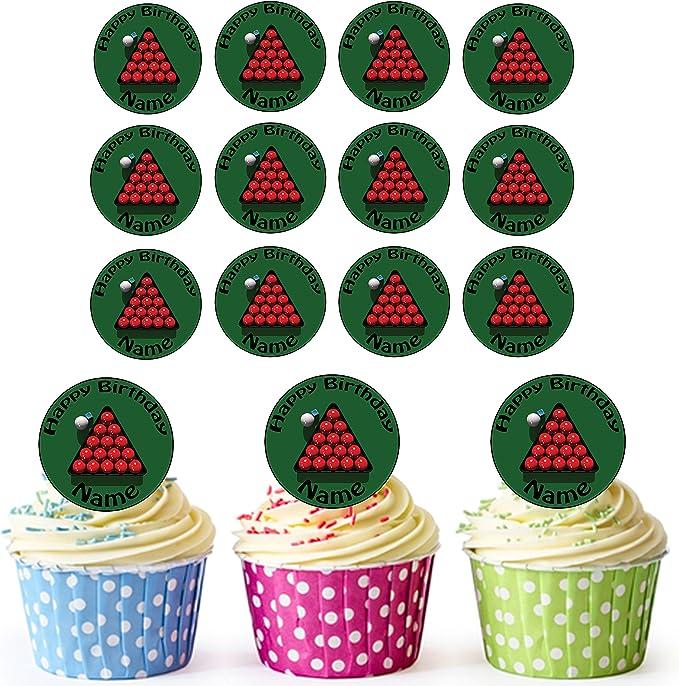 Bolas de billar 24 personalizado comestible cupcake toppers ...