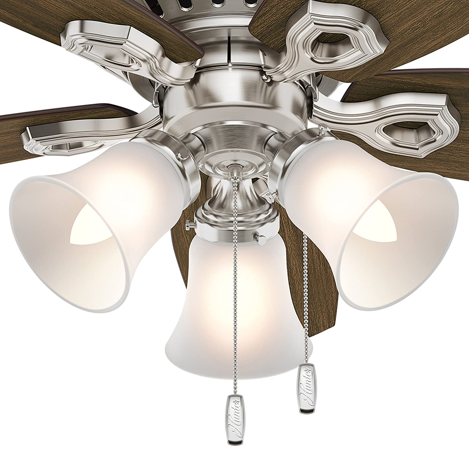 Hunter Fan 42 inch Low Profile Traditional Ceiling Fan in New Bronze – Three-Light Fitter with Cased White Glass Renewed Brushed Nickel