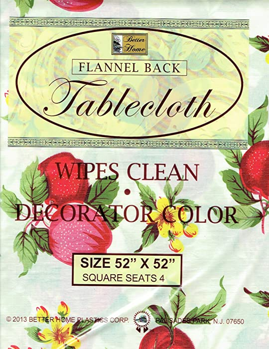 """Better Home Apples Vinyl Tablecloth Decorator Design Flannel Backed (52""""x52"""" Square)"""
