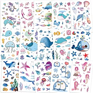 Konsait 200+pcs Ocean Sea Life Party Supplies Mermaid Tropical Fish Whale Temporary Tattoos Body Stickers for Girls Kids Birthday Party Bag Filler Gift Girls Birthday Party Favors Supplies Decoration