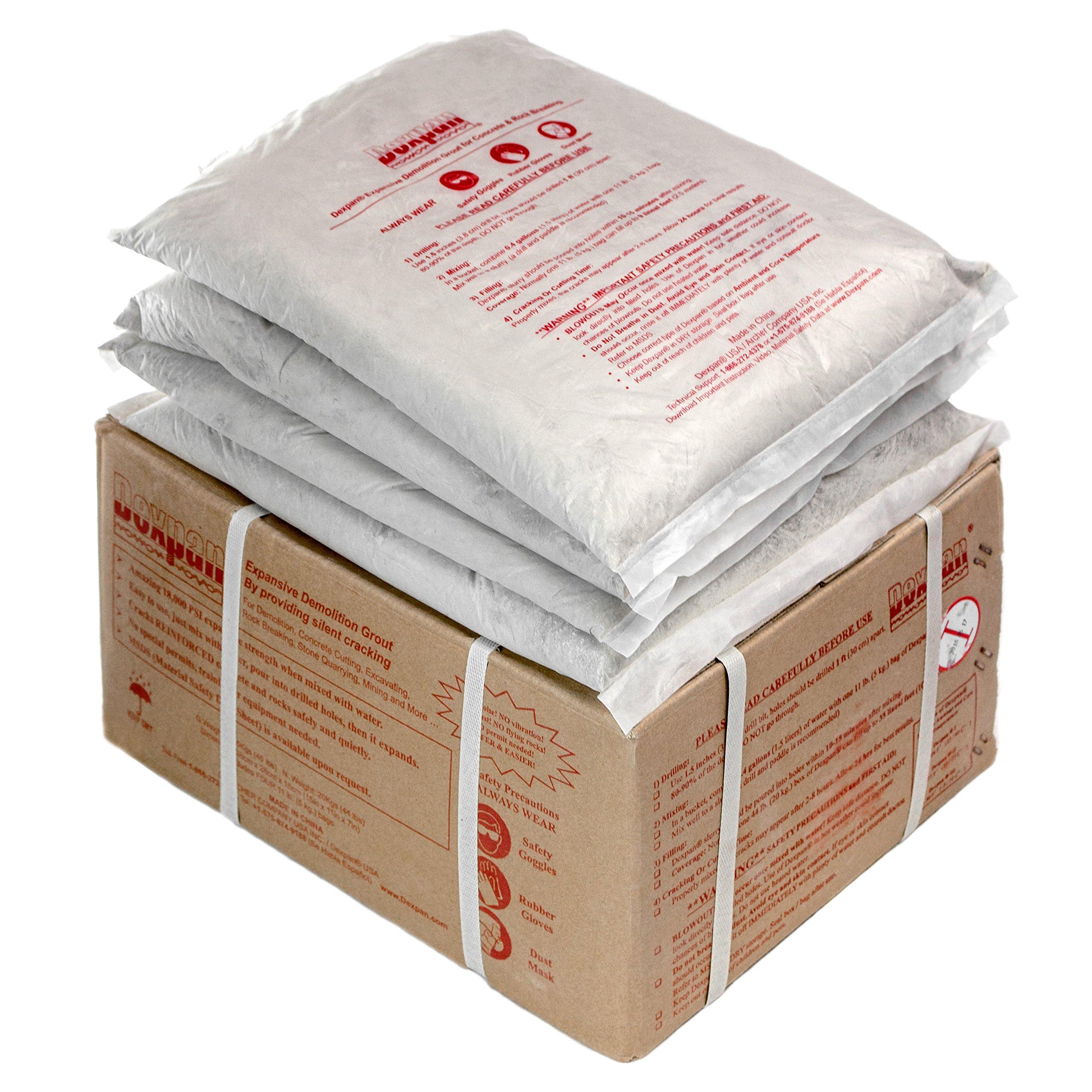Dexpan Non-Explosive Demolition Agent 44 Lb. Box for Rock Breaking, Concrete Cutting, Excavating, Quarrying and Mining. Alternative to Blasting, Demolition Jack Hammer Breaker, Jackhammer, Diamond Blade Concrete Saw, Rock Drill (#1 (77F-104F))