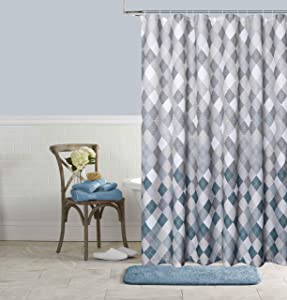 Dainty Home Mosaic Waffle Weave Fabric Shower Curtain and 12 Metal Roller Ball Hooks 13-Piece Bathroom Set, Silver