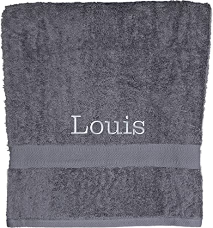 Aztex Personalised Combed Cotton Towels 100 Cotton Hand Towel Slate Grey Amazon Co Uk Kitchen Home