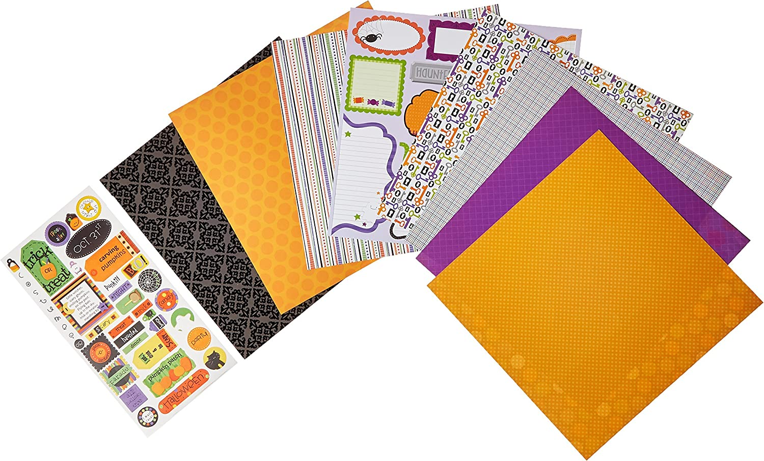 Halloween Cuties Scrapbook Premium Specialty Paper Single-Sided 12x12 Collection Includes 16 Sheets by Miss Kate Cuttables Pattern Paper Pack