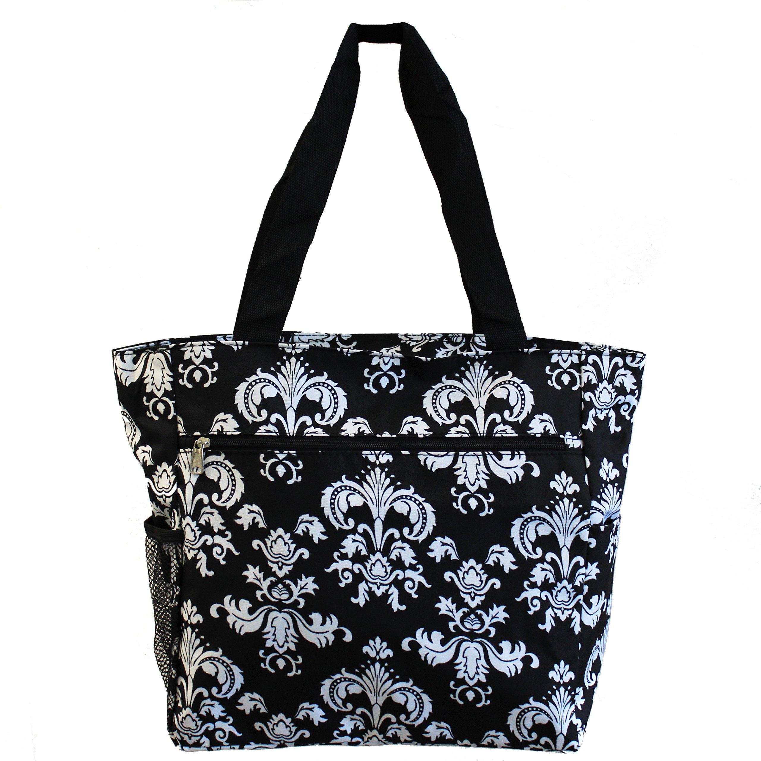 World Traveler 13.5 Inch Beach Bag, Black White Damask II, One Size