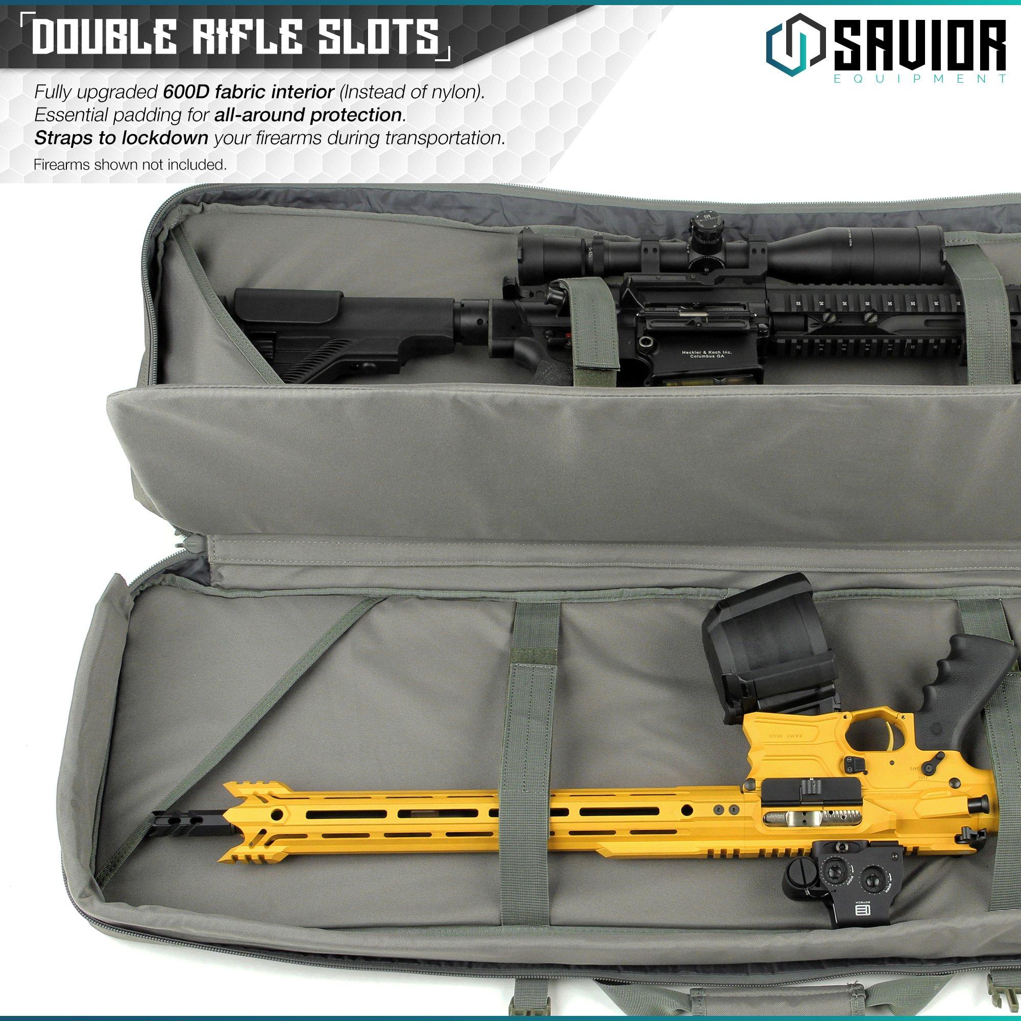 Savior Equipment Urban Warfare Tactical Double Carbine Long Rifle Bag Gun Case Firearm Backpack w/Pistol Handgun Case - 42 Inch Ash Gray by Savior Equipment (Image #2)