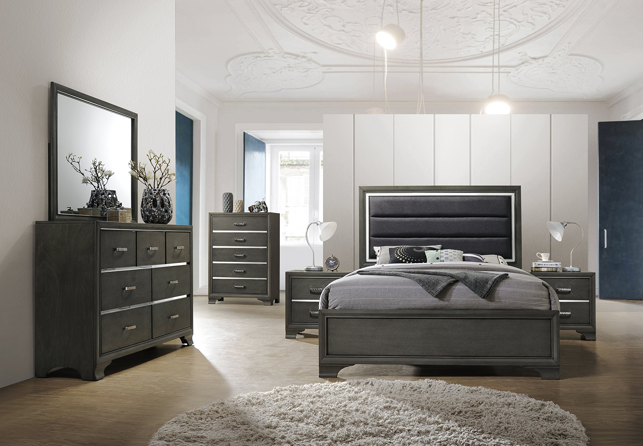 Kings Brand Furniture - 6-Piece Gray Wood with Faux Leather Headboard Queen Bedroom Set. Bed, Dresser, Mirror, Chest, 2 Night Stands by Kings Brand Furniture