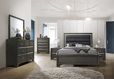 Kings Brand Furniture – 6-Piece Gray Wood with Faux Leather Headboard Queen  Bedroom Set. Bed, Dresser, Mirror, Chest, 2 Night Stands