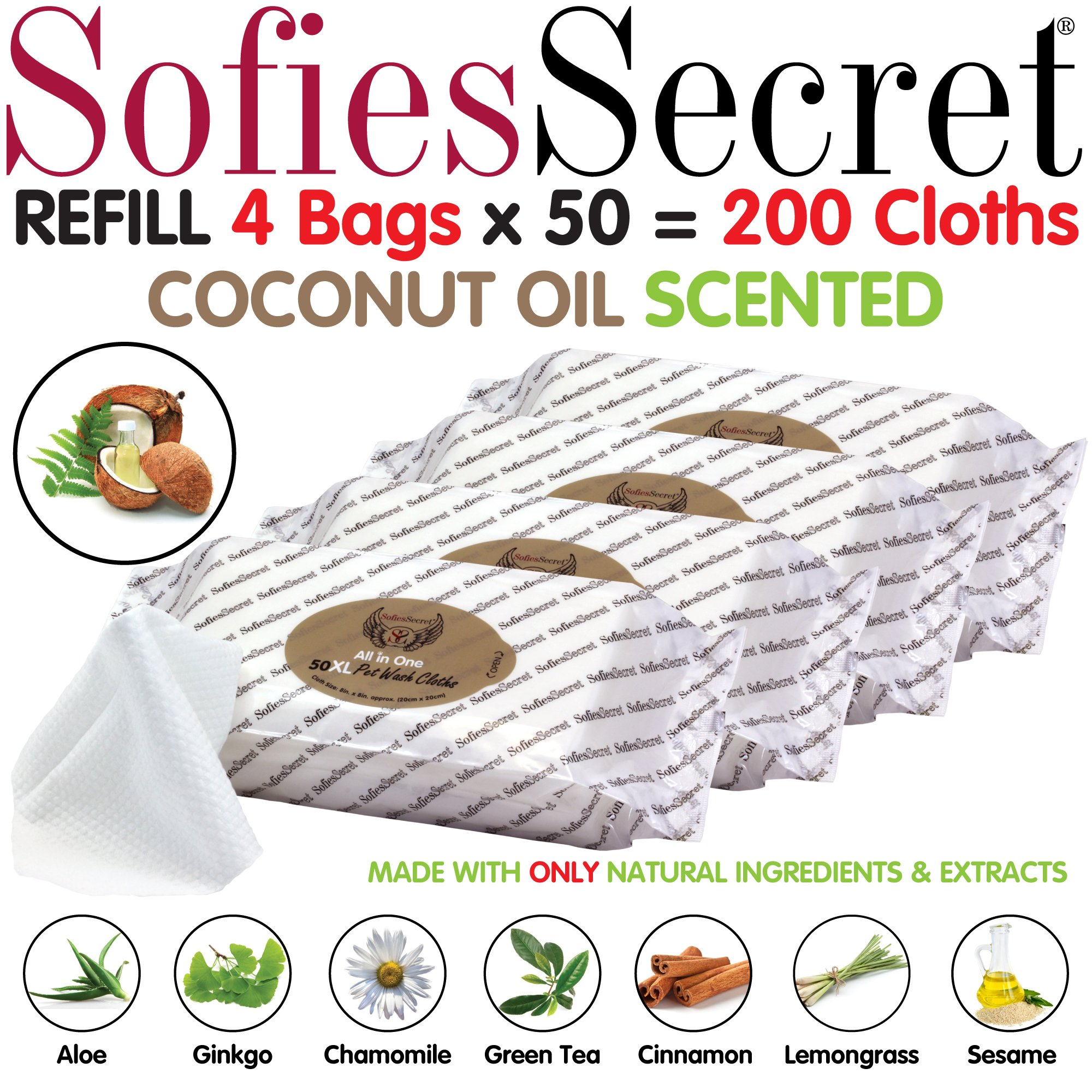 SofiesSecret XL PET Wipes, 200 REFILLS, COCONUT OIL, All in One Grooming, for Paws, Coat, Skin, Face, Ears and Teeth, Made with only Naturally derived Ingredients, Oils & Extra, Cruelty Free and Vegan by SofiesSecret