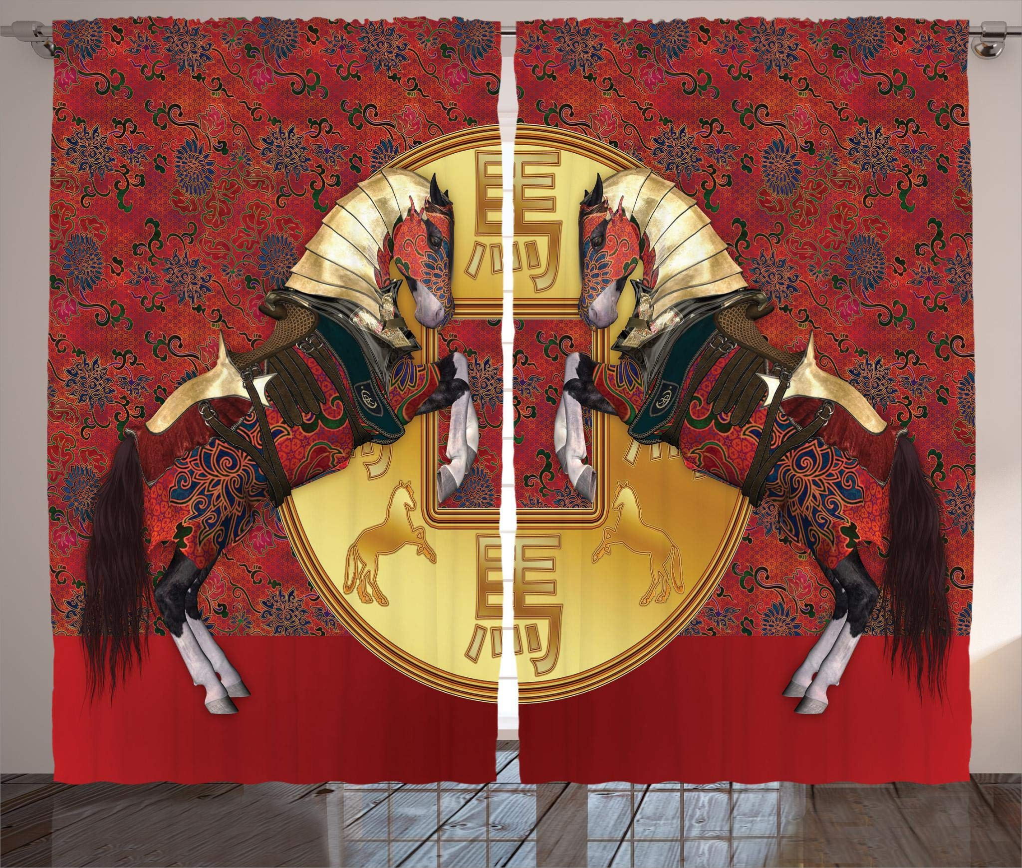 Ambesonne Animal Decor Collection, Chinese Year of the Horse Symbolizes Energy with Royal Gothic Pattern and Gold Masks Art Print, Living Room Bedroom Curtain 2 Panels Set, 108 X 84 Inches, Multi