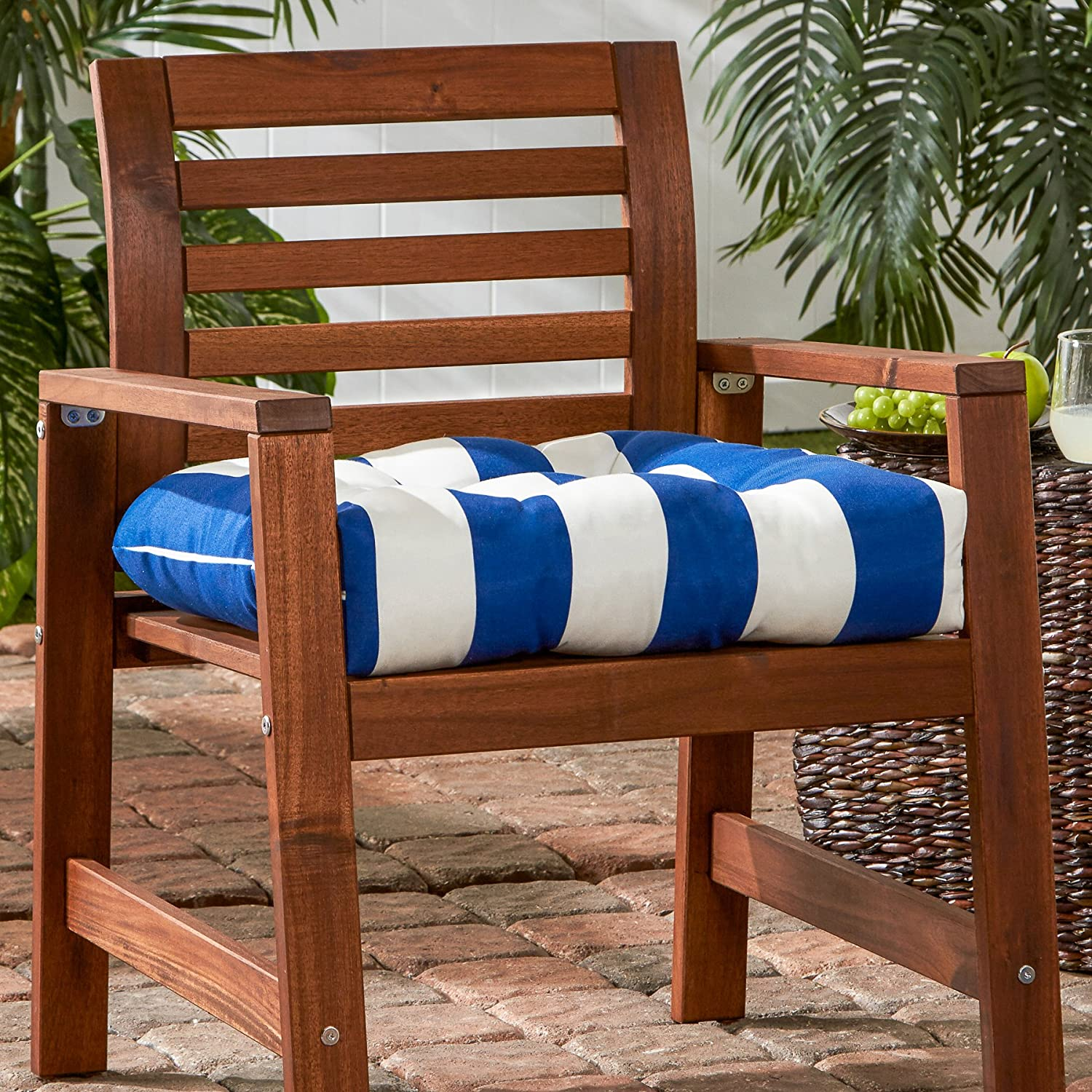 Greendale Home Fashions Indoor Outdoor Chair Cushion, 20-Inch, Cabana Blue