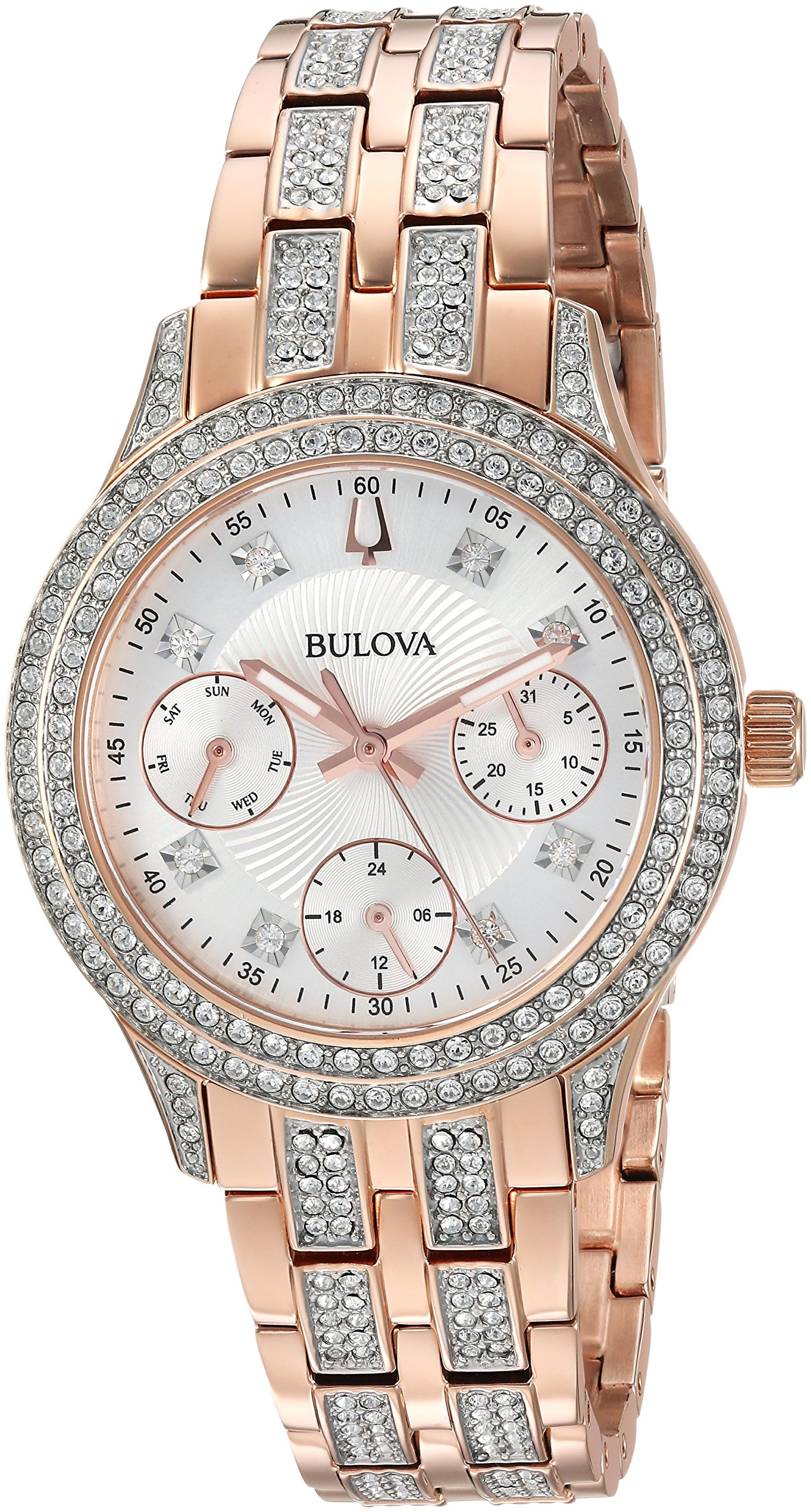 Bulova Women's 'Swarovski Crystal' Quartz Stainless Steel Casual Watch, Color:Rose Gold-Toned (Model: 98N113) by Bulova