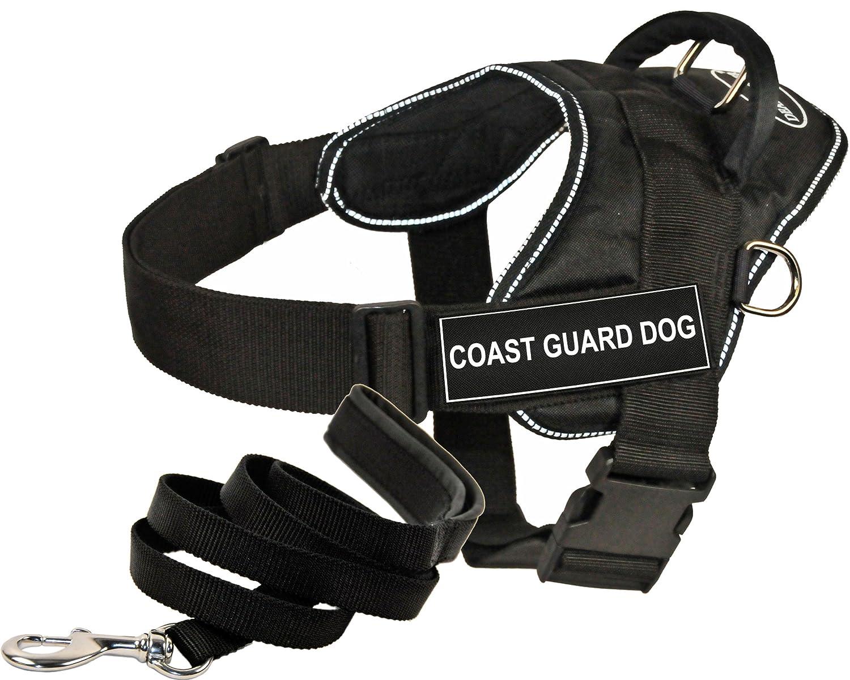 Dean & Tyler DT Fun Works Harness 6-Feet Padded Puppy Leash, Coast Guard Dog, X-Large, Black