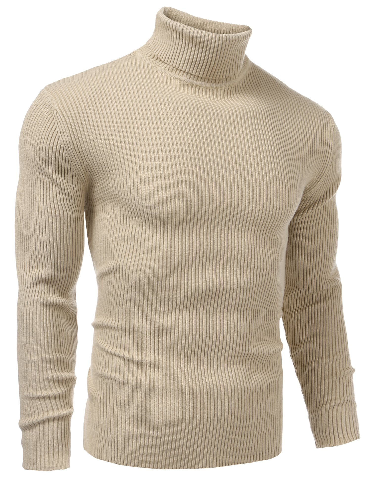 Vansop Mens Casual Wool Cashmere Knitted Sweater Long Sleeve Turtleneck Pullover Tops(Khaki XL) by Vansop