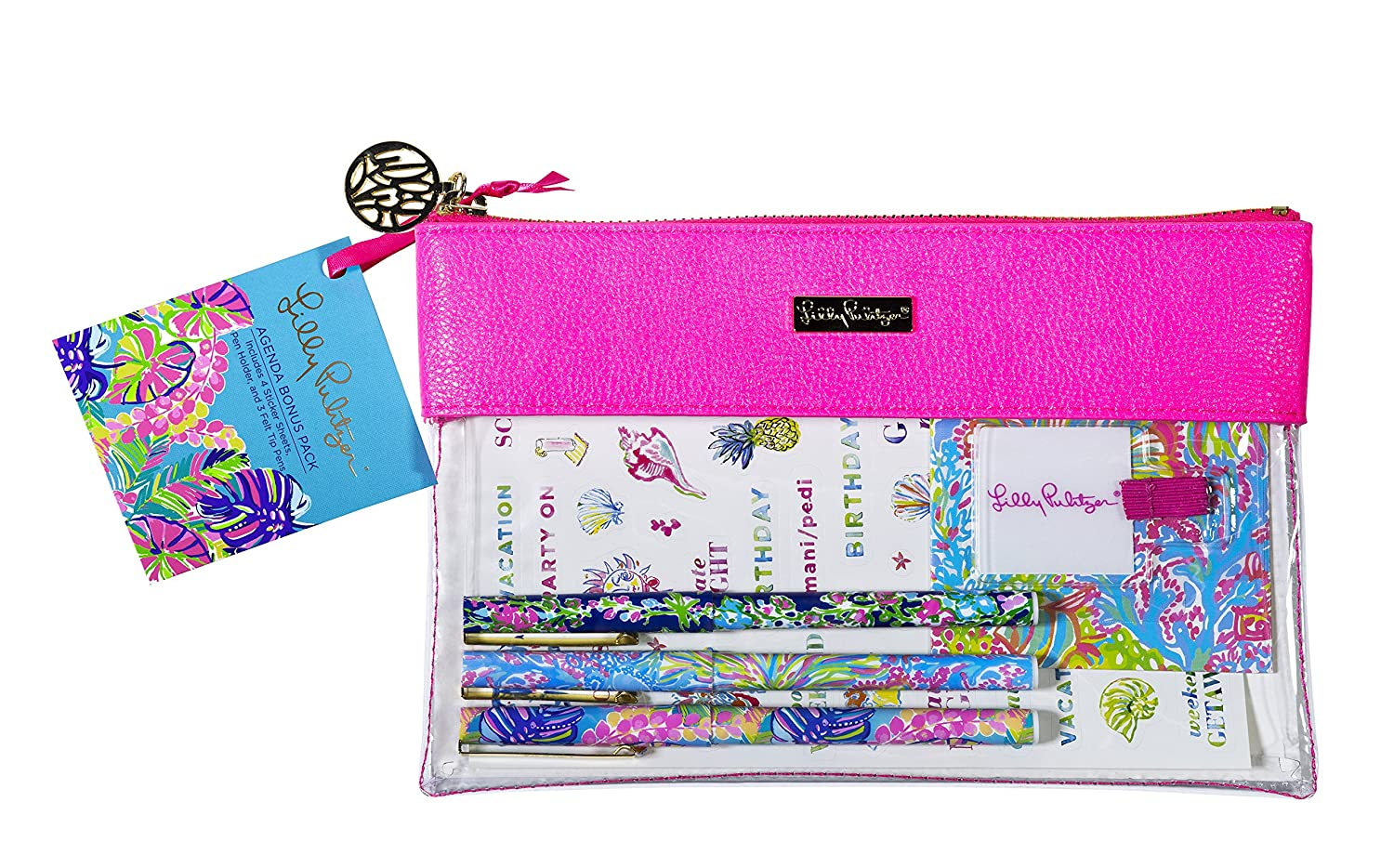 Amazon.com : Lilly Pulitzer Exotic Garden Neon Pink Writing ...