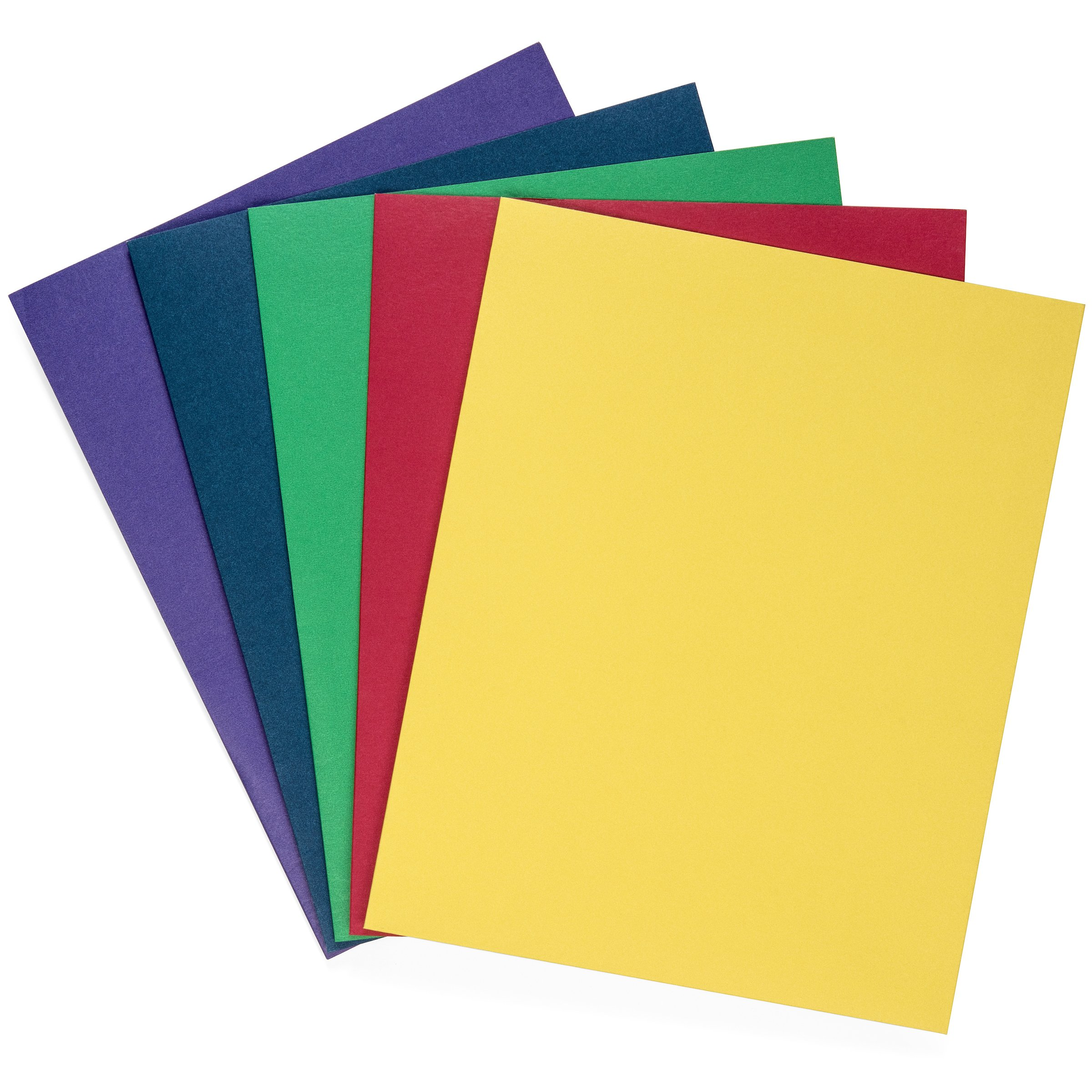 Blue Summit Supplies 100 Two Pocket Folders, Designed for Office and Classroom Use, Assorted 5 Colors, 100 Pack Colored 2 Pocket Folders by Blue Summit Supplies