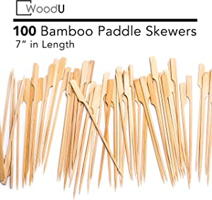 "WoodU Bamboo Picks Paddle Skewers (Pack of 100), 7"" Cocktail Picks, Eco-Friendly Biodegradable"