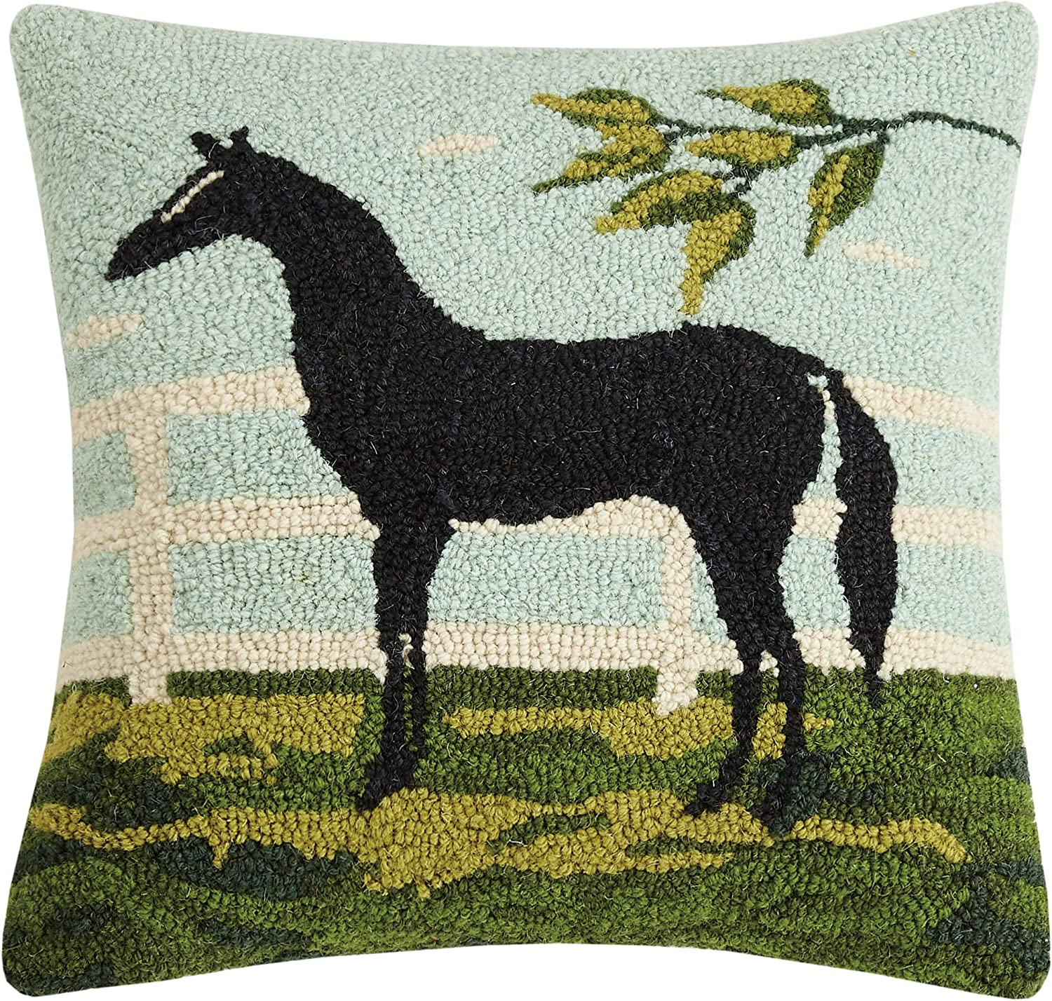 Amazon Com Peking Handicraft 30wk93c16sq Black Horse Hook Pillow 100 Wool And Cotton Home Kitchen