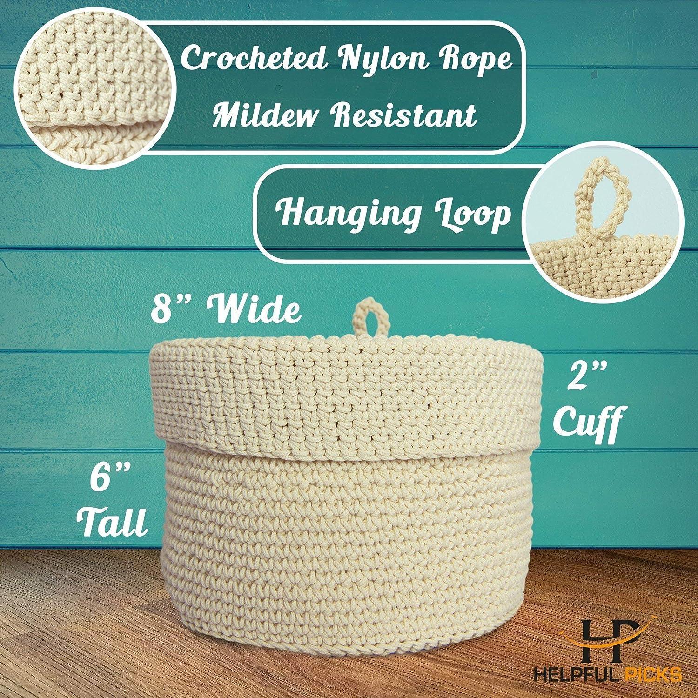 Cesta de cuerda de algodón para la colada - almacenamiento de juguetes - reciclado, color natural y tejido hermético - Pequeño 15 x 13 pulgadas cesta con ...