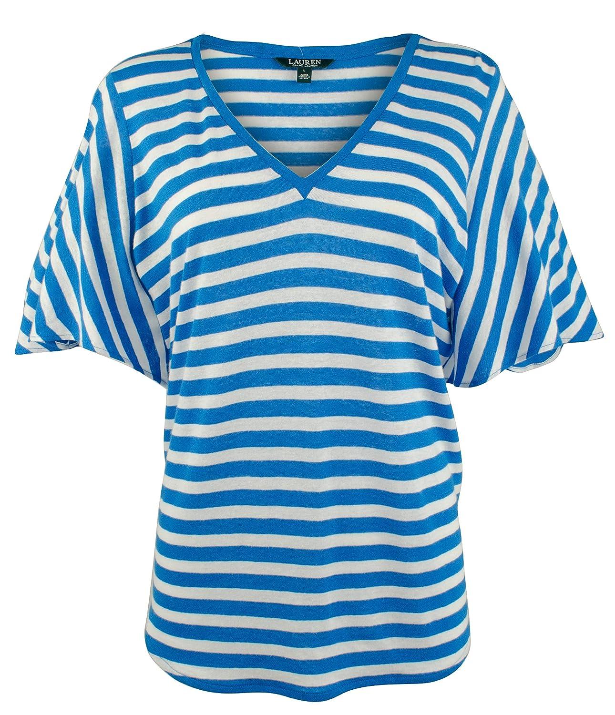 White Lauren Ralph Lauren Women's Striped Linen Blend Shirt