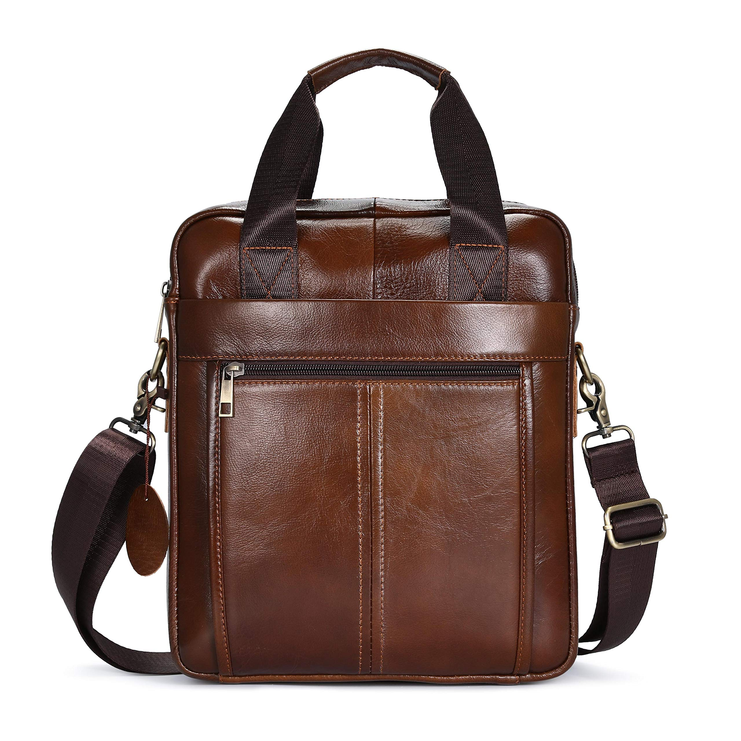 BAIGIO Vintage Man Bags with Handle and Strap Genuine Leather Cross Body Messenger Bag Travel 9.7 Inch Business Shoulder Bag, Brown