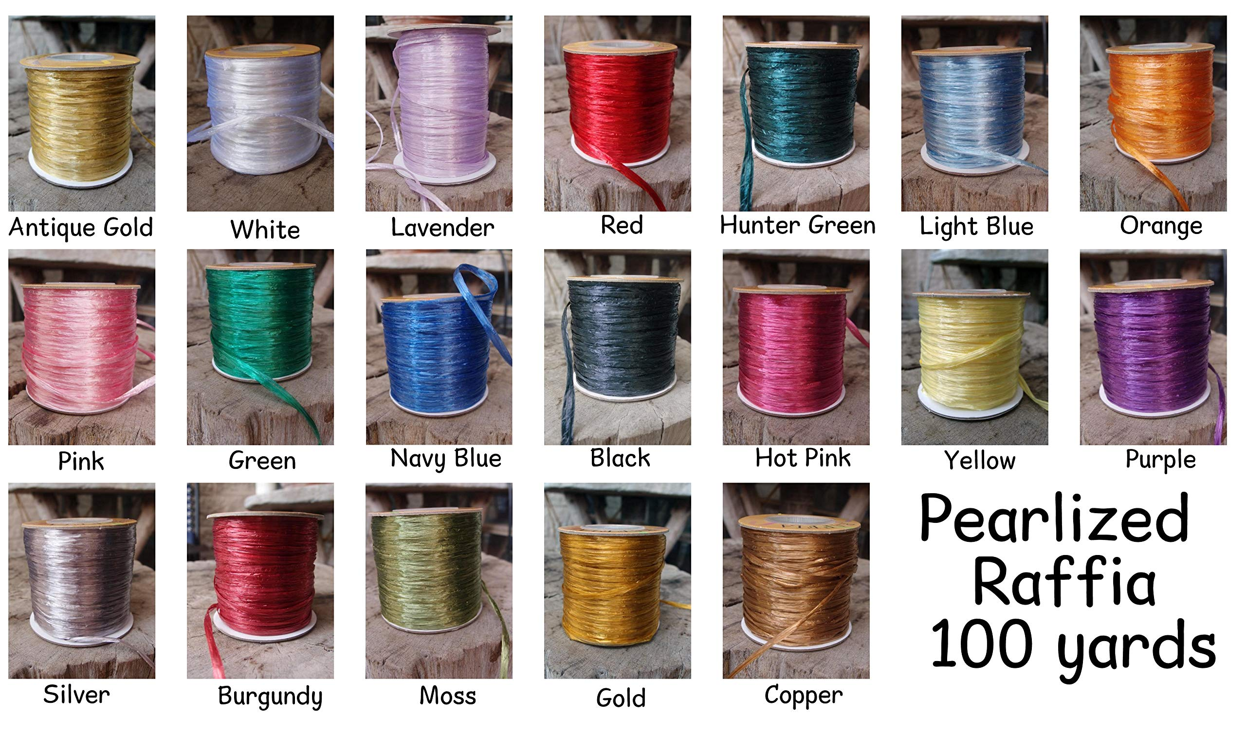 PoshNPretty Pearlized Synthetic Raffia Roll 100 Yards - Choose Colors (Antique Gold) by POSH N PRETTY