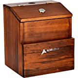Rustic Suggestion Box with Lock - Wooden Ballot Comment Box with Front Pocket - Donation Box - Collection Box - Ballot Box -