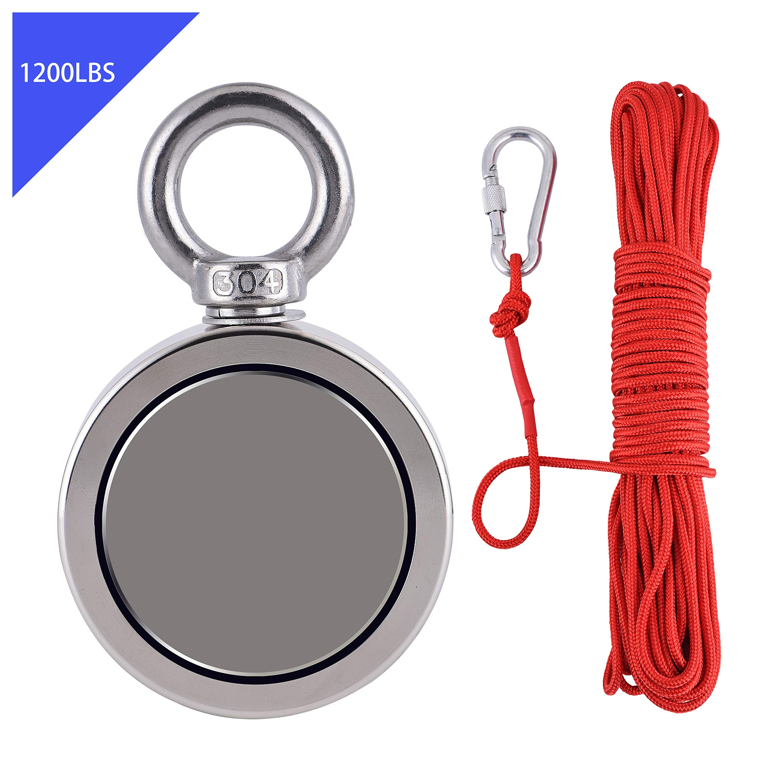 Powerful Fishing Magnets Double Sided with Rope x 66ft, MagnusMags 1200LBS(544KG) Combined Super Strong Pulling Force Neodymium Rare Earth Magnet Kit for Fishing Treasure in River - 2.95'' Diameter