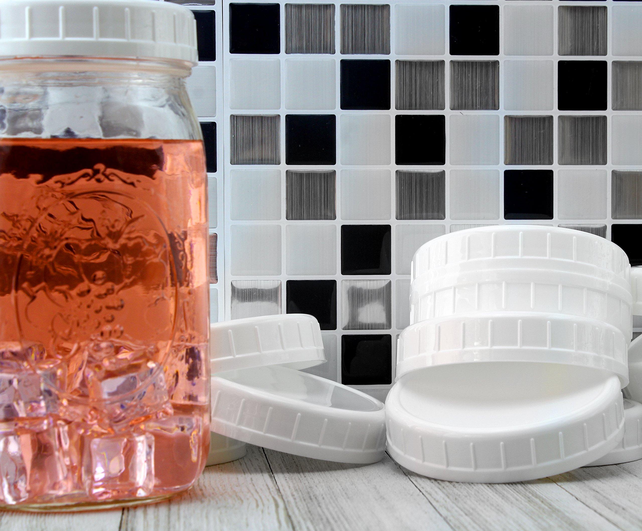 Two Dozen Wide Mouth Plastic Mason Jar Lids (24-Pack Bundle); 2 Dozen Unlined White Ribbed Lids, 86-450 Size by Cornucopia Brands (Image #5)