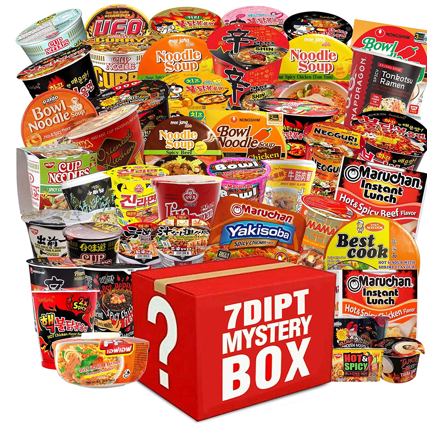????️ Mystery Hot and Spicy Asian Instant Ramen Variety Bundle, Cups & Bowls, Including - Nissin, Nongshim, Samyang, Mama, Acecook, Tapatio, Indomie, Daebak etc. (10 Pack Assorted) with Complementary 4 Piece Hi-Chews