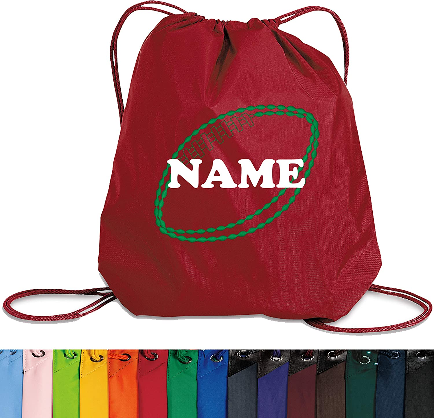 Personalized Football Cinch Backpack with Custom Text Unique Drawstring Bag with Customizable Embroidered Monogram Design