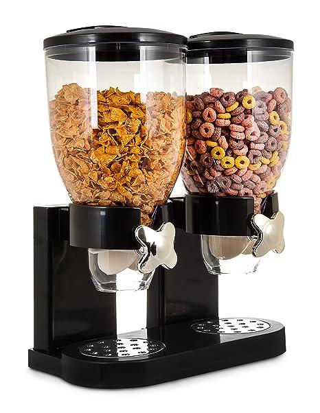 Dispensador de cereales doble de plástico para alimentos secos con fácil apertura