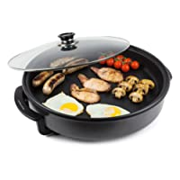 Andrew James Multi Camping Cooker with Glass Lid - 42cm Portable Electric 1500W Adjustable Heat Settings up to 240°C - Non-Stick and Lightweight with Cool Touch Handles and Detachable Power Cord