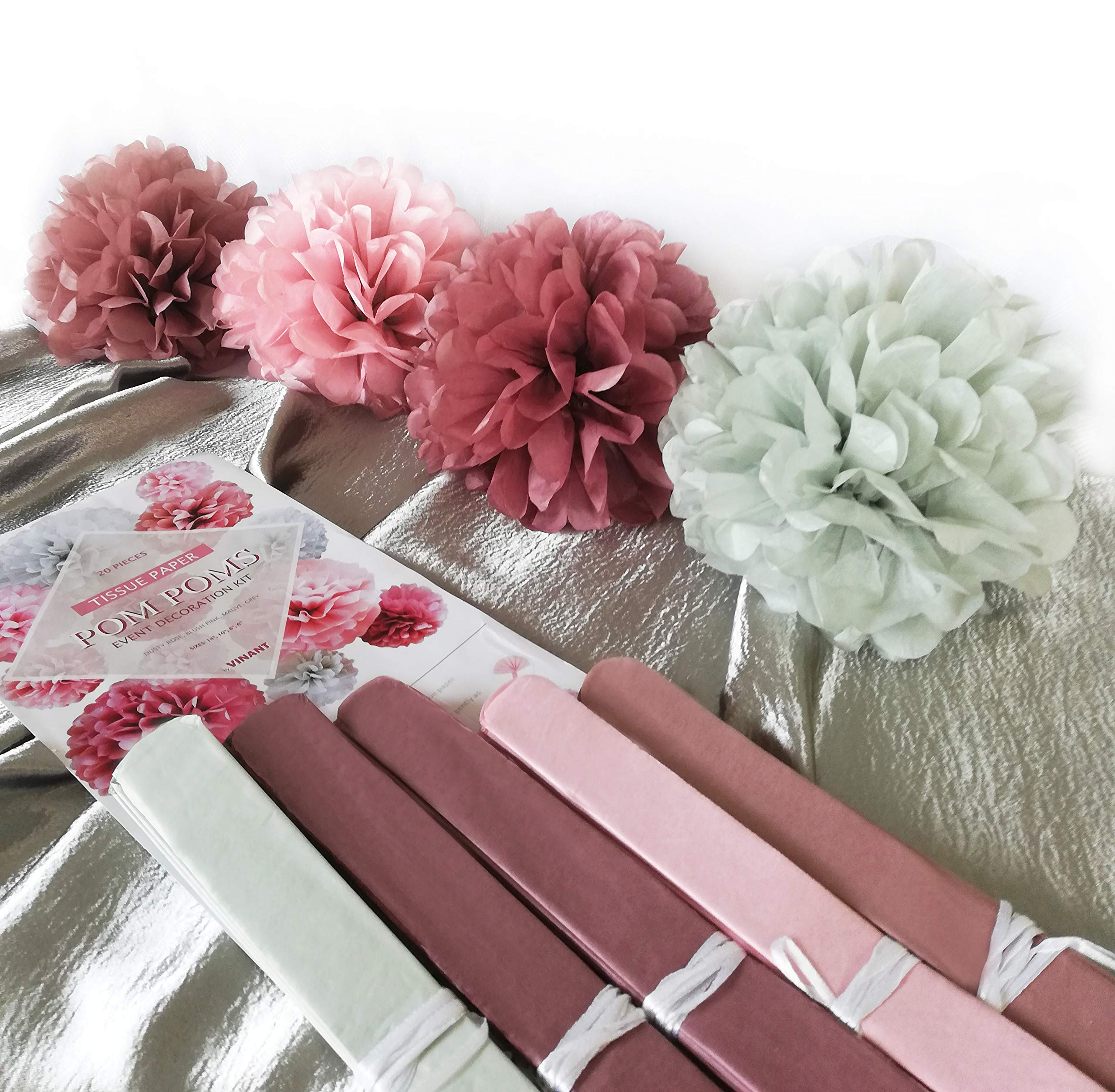 VINANT 20 PCS Tissue Paper Pom Poms - Paper Flower - Party Decoration for Birthday Party - Baby Shower - Bridal Shower - Wedding - Bachelorette - Dusty Rose, Mauve, Blush Pink, Grey - 14'', 10'', 8'', 6'' by VINANT (Image #3)
