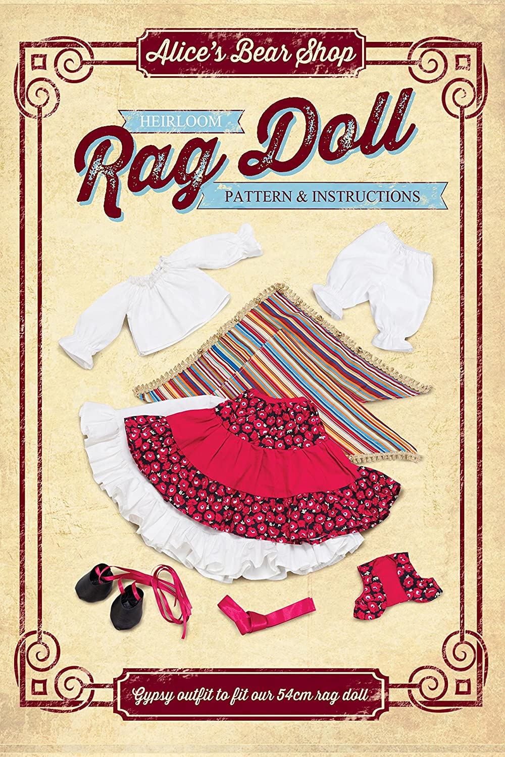 Pattern and A5 Instruction booklet to make a Gypsy outfit to fit our 54cm rag doll Alice's Bear Shop