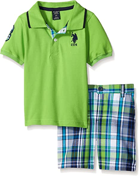 Baby Boys Cargo Plaid Shorts and Pique Top Polo Assn U.S