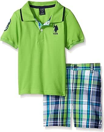 U.S. POLO ASSN. Boys 2 Piece Big Pony Solid Pique Polo Shirt and Plaid Short