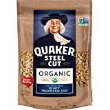 Quaker Organic Steel Cut Oats Breakfast Cereal, Non-GMO Project Verified, 20 Ounce Resealable Bags, 4 Bags