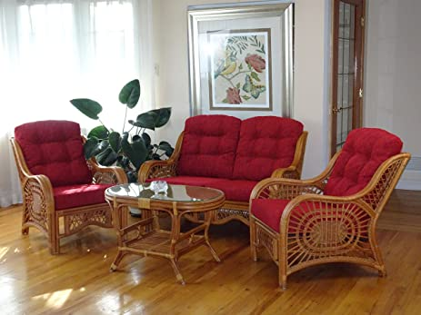 Lovely Malibu Rattan Wicker Living Room Set 4 Pieces 2 Lounge Chair Loveseat/sofa  Coffee Table