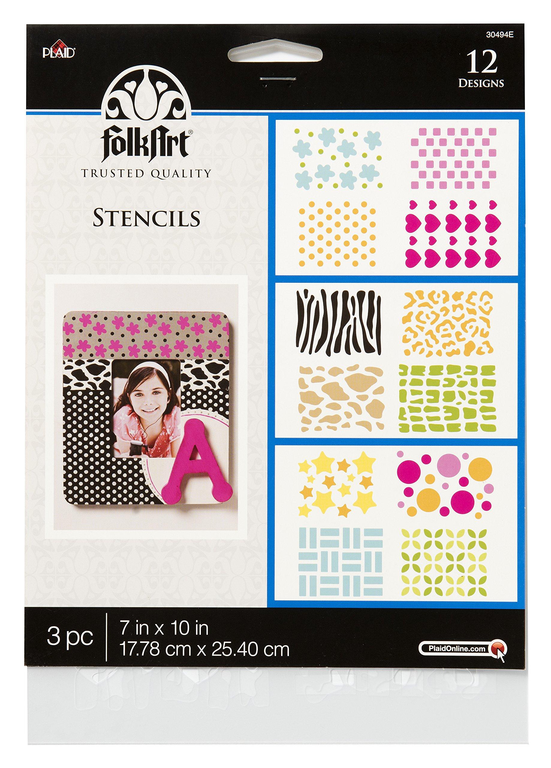 FolkArt 30494 7'' x 10'' Background Stencils Value Pack by FolkArt (Image #1)