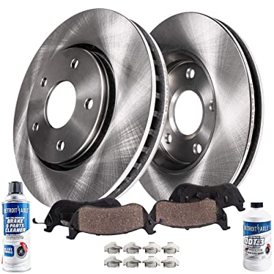Detroit Axle - Pair (2) Rear Disc Brake Kit Rotors w/Ceramic Pads w/Hardware & Brake Kit Cleaner & Fluid for 2003 2004 2005 2006 2007 2008 2009 2010 2011 Lincoln Town Car Sedan Only: Automotive